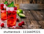 raspberry mojito lemonade with... | Shutterstock . vector #1116609221
