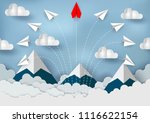 paper planes are competing to... | Shutterstock .eps vector #1116622154