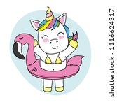 happy unicorn with swimsuit and ... | Shutterstock .eps vector #1116624317
