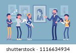 museum excursion trip. group of ... | Shutterstock .eps vector #1116634934