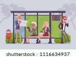 city bus stop people. diverse... | Shutterstock .eps vector #1116634937