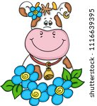 lovely cow with flowers  | Shutterstock .eps vector #1116639395