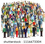 crowd and groups of people ... | Shutterstock .eps vector #1116673304