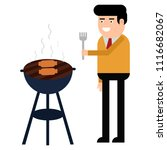 man is cooking a barbecue grill.... | Shutterstock .eps vector #1116682067