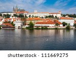 Prague Castle and Cathedral of St. Vitus from Charles Bridge in Prague, Czech REpublic - stock photo