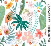 exotic garden blossom. seamless ... | Shutterstock .eps vector #1116693077
