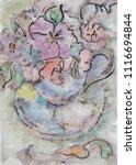 flowers in cap  watercolor and... | Shutterstock . vector #1116694844