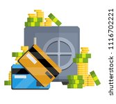 metal safe with money. a bunch... | Shutterstock .eps vector #1116702221