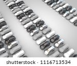 3d rendering  many parked cars... | Shutterstock . vector #1116713534