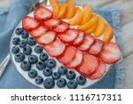 glass plate with yogurt with... | Shutterstock . vector #1116717311