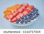 glass plate with yogurt with... | Shutterstock . vector #1116717314
