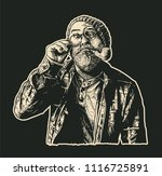 perplexed mope eyed old man in... | Shutterstock .eps vector #1116725891