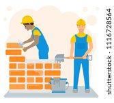 flat illustration of builders.... | Shutterstock .eps vector #1116728564