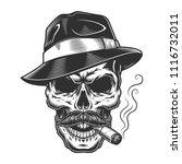 monochrome vintage skull in... | Shutterstock .eps vector #1116732011