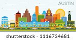 austin texas skyline with color ... | Shutterstock .eps vector #1116734681