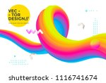 colorful 3d flow shapes. liquid ... | Shutterstock .eps vector #1116741674