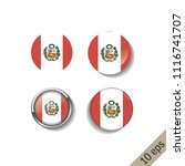 set of peru flags round badges. ... | Shutterstock .eps vector #1116741707