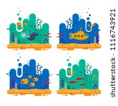 yellow submarine with periscope ... | Shutterstock .eps vector #1116743921