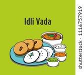 south indian food idli vada   Shutterstock .eps vector #1116757919