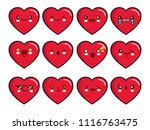 heart emoticons set. smiley... | Shutterstock .eps vector #1116763475