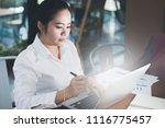 business woman working in... | Shutterstock . vector #1116775457