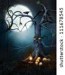 Creepy Tree With Skulls At Night