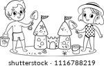 black and white two little kids ... | Shutterstock .eps vector #1116788219