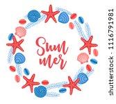 ocean wreath with starfish ... | Shutterstock .eps vector #1116791981