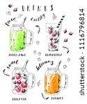 hand drawn summer fruit... | Shutterstock .eps vector #1116796814