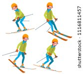skiing male vector. with... | Shutterstock .eps vector #1116811457