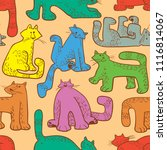 seamless pattern with funny... | Shutterstock .eps vector #1116814067