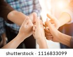 people thumb up in teamwork... | Shutterstock . vector #1116833099