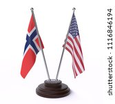 norway and usa  two table flags ... | Shutterstock . vector #1116846194