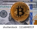 golden bitcoin coin on us... | Shutterstock . vector #1116848519
