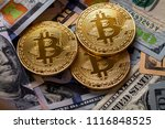 golden bitcoin coin on us... | Shutterstock . vector #1116848525
