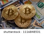 golden bitcoin coin on us... | Shutterstock . vector #1116848531