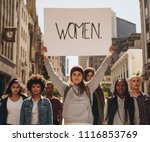 group of females protesters... | Shutterstock . vector #1116853769
