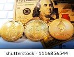golden bitcoin and mound of...   Shutterstock . vector #1116856544