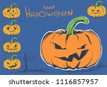 halloween pumpkin sketch... | Shutterstock .eps vector #1116857957