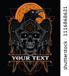 dark evil raven with spread... | Shutterstock .eps vector #1116868631