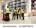 training on a forklift | Shutterstock . vector #1116873014