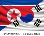 flag of north korea and south... | Shutterstock .eps vector #1116875831