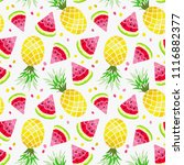 watermelon and pineapple... | Shutterstock .eps vector #1116882377