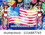 patriotic holiday. happy kid ... | Shutterstock .eps vector #1116887765