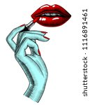 female red sexy lips and hand... | Shutterstock .eps vector #1116891461