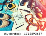 travel and hiking accessories ... | Shutterstock . vector #1116893657