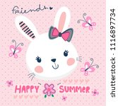 little happy cute rabbit girl... | Shutterstock .eps vector #1116897734