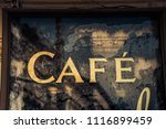 old cafe sign | Shutterstock . vector #1116899459