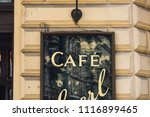 old cafe sign | Shutterstock . vector #1116899465