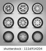 car wheels set isolated on... | Shutterstock .eps vector #1116914204